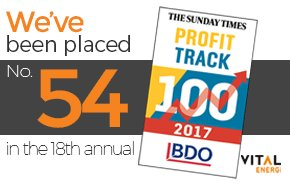 Increase in Profit Places Vital Energi on Sunday Times BDO